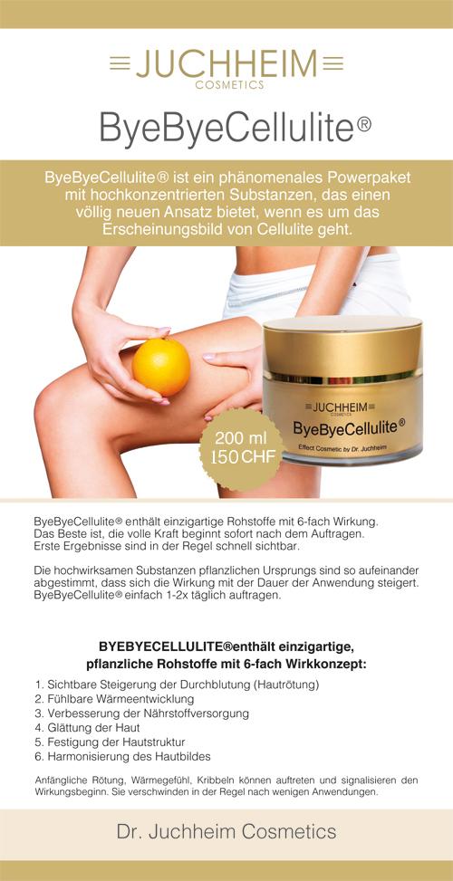 ByeBye Cellulite Behandlung für Ihre Beauty und Dr. Juchheim Produkte bei Theres Weber im Palm Beach Studio - Dieses phänomenale Powerpaket enthält hochwirksame Aktivstoffe und entfaltet eine 3D-Wirkung zur Verbesserung des Erscheinungsbilds von Cellulite. Juchheim Produkte kaufen